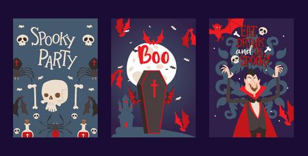 Vampire style halloween party invitation, vector illustration. Set of banners with vampire symbols in cartoon style, typographic template. Halloween icons and place for text