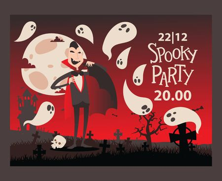 Vampire style halloween party invitation, vector illustration. Spooky party announcement template, vampire Dracula cartoon character. Halloween night scene with haunted castle 向量圖像