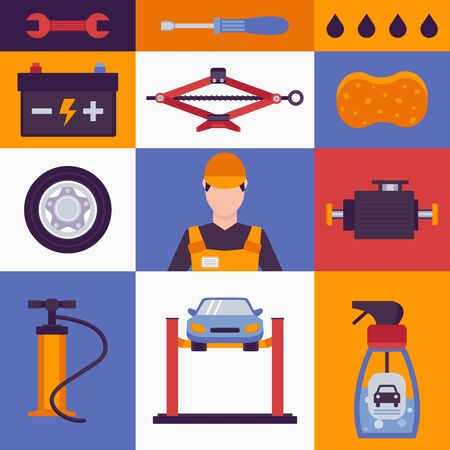 Car service icons in colorful collage, vector illustration. Set of stickers with car maintenance symbols, auto service emblems in flat style. Vehicle repair equipment