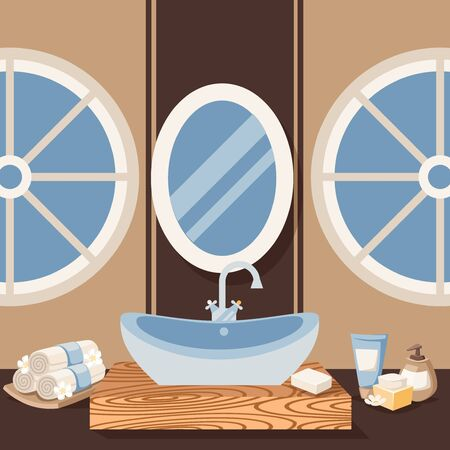 Bathroom sink vector illustration. Sanitary furniture for home and hotel interior, modern concept of luxury bathroom design. Ceramic sink and spa products in flat style