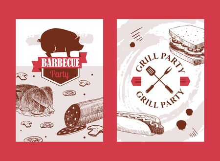 Barbecue banners with hand drawn food, vector illustration. Grill party invitation, bbq cookout event announcement. Barbeque meat restaurant menu cover, butcher shop advertisement campaign, food store