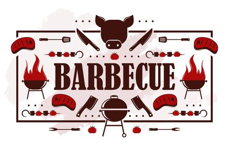Barbecue icons on typography poster, vector illustration. Grill party invitation, bbq cookout event announcement. Barbeque meat restaurant menu cover, butcher shop advertisement campaign. Kebab skewer Ilustracja