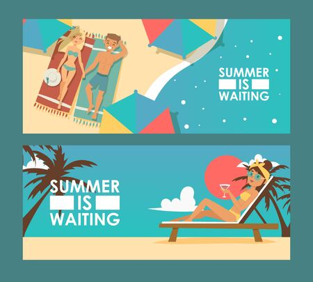 Summer vacation advertisement banner, vector illustration. Tour agency promotion campaign flyer, romantic holiday trip offer. Luxury tropical resort, man and woman cartoon character enjoy summer beach Ilustrace