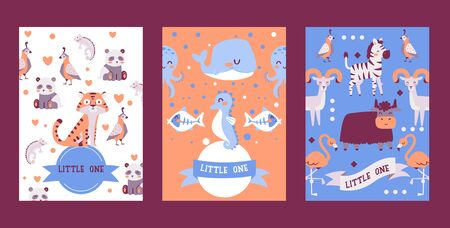 Banners with cute animals in cartoon style, vector illustration. Children zoo invitation, zoology book cover, greeting card template. Happy exotic animals cartoon characters, tiger, seahorse and whale Stock Illustratie