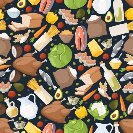 Food icons in seamless pattern, vector illustration. Isolated emblems of cooking ingredients, dairy products, vegetables, chicken and fish. Wrapping paper for food market, grocery store background