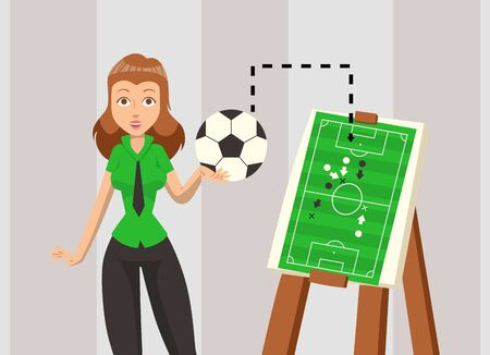 Female soccer coach explaining game strategy, vector illustration. Football team plan scheme, woman cartoon character with ball. Tactical leader of soccer womens team teaches how to play football