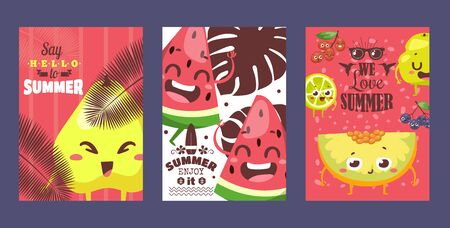 Summer fruits on typographic banners, vector illustration. Funny cartoon characters with smiling faces. Summer sale campaign advertisement, fruity flavor dessert collection. Watermelon, melon and pear Banque d'images - 138223800