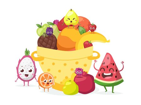 Summer fruits in basket, vector illustration. Funny cartoon characters with smiling faces, friendly mascots. Slice of watermelon, pitaya, orange, pear and strawberry. Fresh juicy fruits food market Ilustração