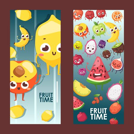 Summer fruits on vertical banners, vector illustration. Funny cartoon characters with smiling faces, friendly mascots. Watermelon, peach, lemon, banana and pitaya. Fresh juicy fruit and space for text