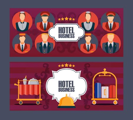 Hotel service banner, vector illustration. Comfortable accommodation, professional customer service. Flat style icons, symbols of luxury hotel. Brochure cover, newsletter header, advertisement flyer Foto de archivo - 138265754