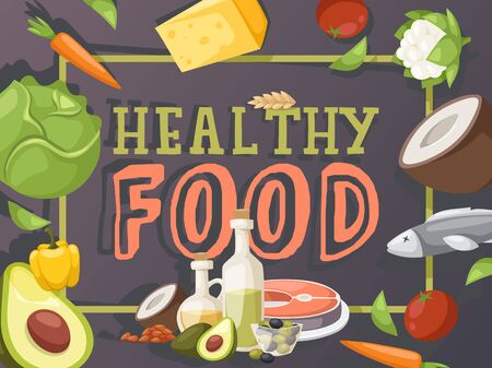 Healthy food typography poster, vector illustration. Cookbook cover, grocery store brochure, food market booklet cover. Organic ingredients for cooking healthy meal, recipes for lunch and dinner Banque d'images - 138224383