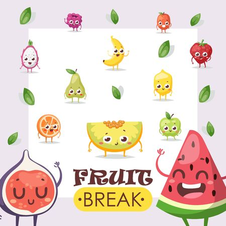 Fruit icons, funny cartoon characters, vector illustration. Set of summer fruits with smiling faces, friendly mascot. Watermelon, banana, fig, pear and melon. Juicy apple, orange, lemon and strawberry Фото со стока - 138224179