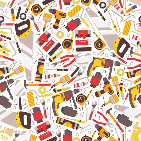 Repair tools icons in seamless pattern, vector illustration. Wrapping paper print design, flat style house building and renovation material, toolbox instrument. Reconstruction tools, saw, drill, brush Ilustração