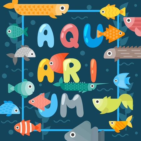 Aquarium fish typographic poster, vector illustration. Abstract colorful sea creatures, underwater life. Fish store decorative booklet cover, pet store brochure, aquarium invitation card template Banque d'images - 138224124