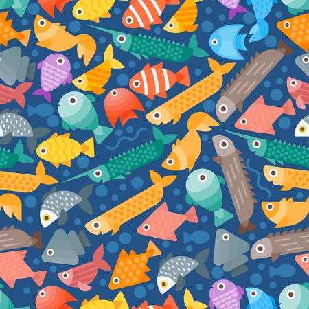 Simple flat style fish seamless pattern, vector illustration. Background with abstract colorful sea creatures, aquarium fish icon. Wrapping paper, fabric print design. Underwater fish geometric shapes Ilustrace