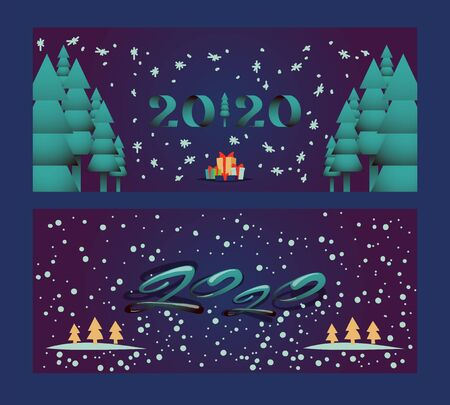 Happy new year 2020, Christmas holidays banner vector illustration. Simple greeting card with Christmas trees and snowflakes, new year party invitation. Winter holiday season greeting card, night snow Banque d'images - 138230816