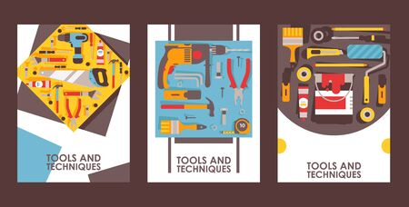 Tools for home repair, set of banners, vector illustration. Equipment icons in flat style. Building, reconstruction and maintenance tools. Hardware store booklet cover, repair service brochure design Banque d'images - 138236921