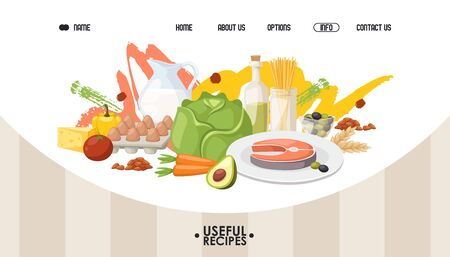 Healthy food website design, vector illustration. Landing page template, diet meal recipes from organic products and local ingredients. Salmon with vegetables for healthy dinner, useful food recipes 向量圖像