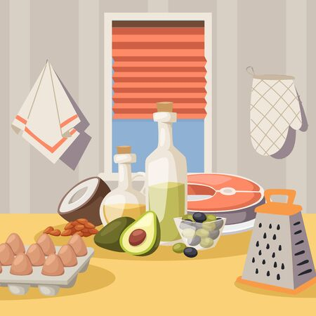 Cooking ingredients on kitchen table, vector illustration. Products for healthy meal, organic food recipe. Kitchen setup, home cooking. Salmon, avocado, eggs, coconut and olive oil. Healthy ingredient