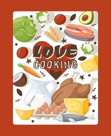 Culinary book cover, vector illustration. Love cooking, typographic poster for kitchen. Recipes from organic ingredients, healthy food cookbook. Dairy products, vegetables, chicken, salmon and eggs