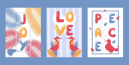 Set of typographic banners, vector illustration. Joy, love and peace. Simple cards in flat style with silhouettes of birds, kiwi, egret and dove. Colorful typography text, greeting card template print  イラスト・ベクター素材