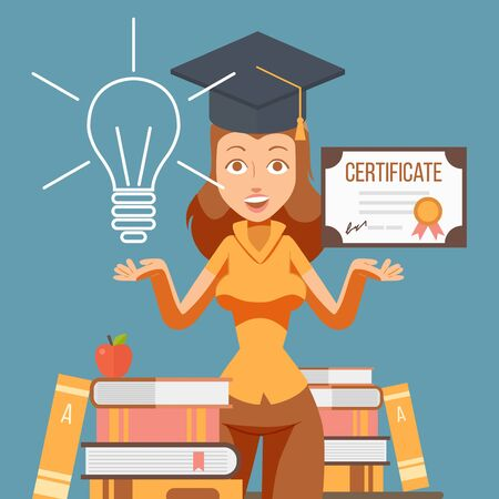 Graduate woman cartoon character, vector illustration. College student girl with education certificate. University studying, graduation diploma. Education gives opportunities for future career success Stok Fotoğraf - 138452629