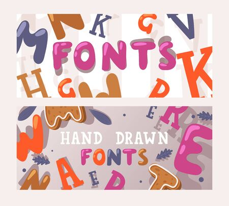 Hand drawn fonts banner, vector illustration. Collection of custom fonts, colorful letters in different styles. Typography set preview, font design promotion campaign. Decorative typeface advertising