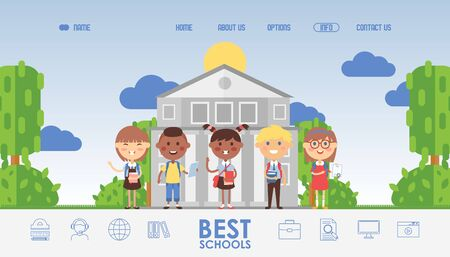Education for children, school website design, vector illustration. Landing page template, kids cartoon characters in flat style. Happy schoolchildren in international class, education website icons