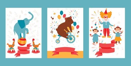 Circus show with trained animals, invitation banner template, cartoon flat style vector illustration. Entertainment circus performance ticket, holiday festival announcement, trained animals and clowns