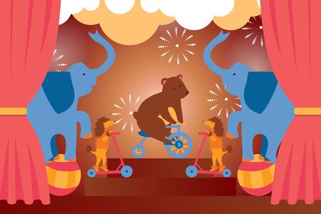 Circus show with trained animals, bear, elephant, dog performing stunts, cartoon vector illustration. Stage performance, circus entertainment announcement poster simple design, festival celebration Illustration