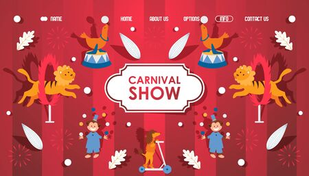 Circus carnival show with trained animals performing stunts, simple icons for website vector illustration. Landing page template, welcome to circus entertainment performance with animals, lion, monkey