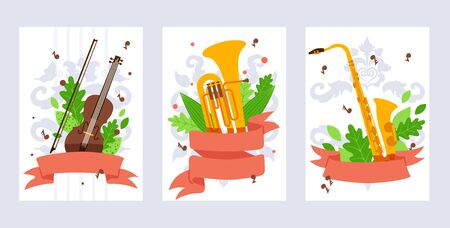 Musical instrument banner, vector illustration. Violin, tuba and saxophone in flat style. Concert invitation, music school booklet cover template. Musical instruments store promotion campaign banner