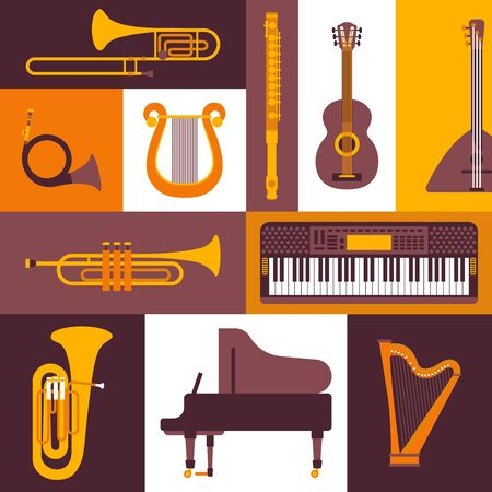 Musical instruments flat style icons, vector illustration. Collage of isolated emblems and stickers. Piano, keyboard, flute, brass and string instruments. Icon for musical shop, catalog cover template Standard-Bild - 138452488