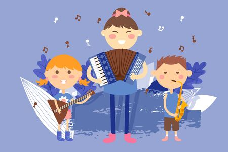 Children playing musical instruments, vector illustration. Kids cartoon characters, school music band performance. Boys and girls playing accordion, balalaika and saxophone. Music school for children