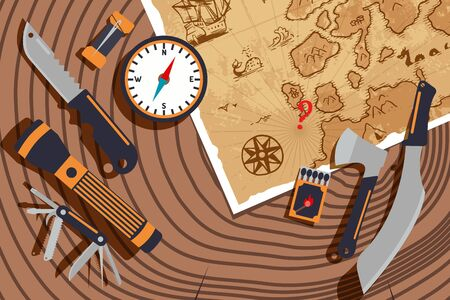 Planning expedition to discover new lands, vector illustration. Old map, compass, knife and flashlight on tree stump texture. World exploration, travel adventures, exciting discoveries, expedition