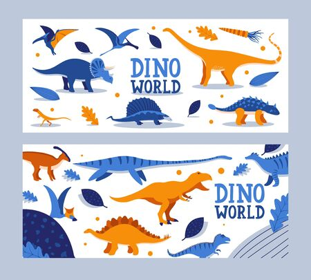 Dino world banner, children book, prehistoric animals museum exposition ticket vector illustration. Isolated cartoon style icons of dinosaurs, Jurassic theme park invitation, brochure cover template
