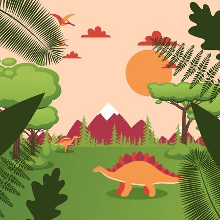 Dinosaur in natural landscape, prehistoric animal in Jurassic park, simple cartoon vector illustration. Prehistoric nature, trees and mountains, dino world ancient reptiles in meadow valley landscape Illusztráció