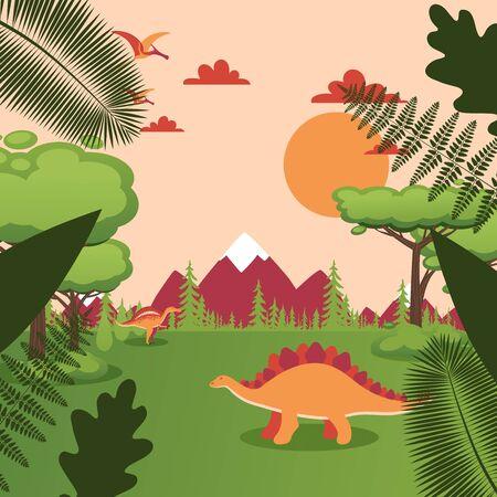 Dinosaure dans le paysage naturel, animal préhistorique dans le parc jurassique, illustration vectorielle de dessin animé simple. Nature préhistorique, arbres et montagnes, reptiles anciens du monde des dinosaures dans le paysage de la vallée des prés