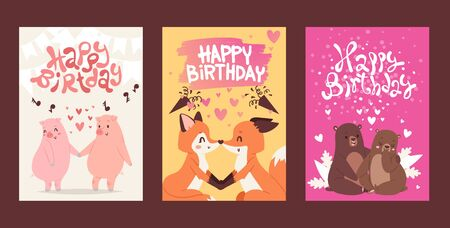 Happy birthday greeting card template, vector illustration. Cute animals romantic couple on valentine day. Happy pigs, foxes in love, adorable bears together. Birthday present, lovely valentine card