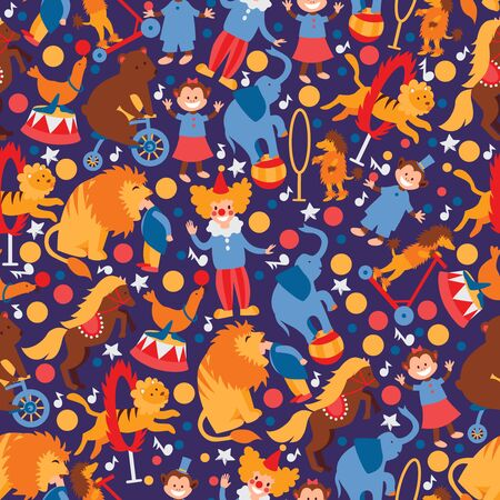 Circus trained animals and clown, seamless pattern with simple cartoon characters, vector illustration. Isolated flat style icon for circus with animals, wrapping paper print or children fabric design Stock Illustratie