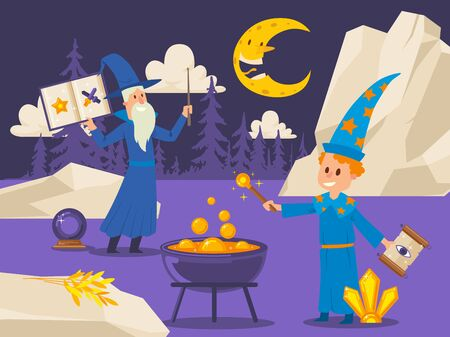 Old wizard teaches young student to cook magical potion, vector illustration. Flat style outdoor scene with cartoon characters. Boy with magic wand and spell scroll at night, fantasy book illustration
