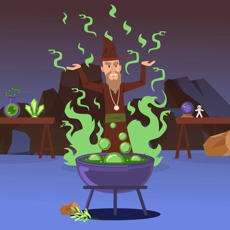 Sorcerer casting a spell, vector illustration. Evil wizard cartoon character, cauldron with boiling potion, medieval fairytale magic. Mighty alchemist, sinister warlock cooking magical poison outdoor  イラスト・ベクター素材