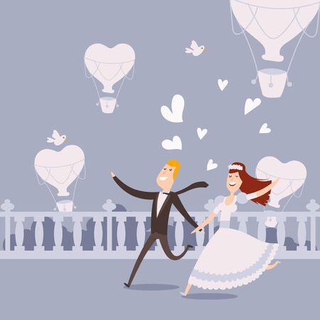 Happy newlywed couple running, vector illustration. Flat style cartoon characters, bride in dress and groom in suit. Just married man and woman run away from wedding ceremony. Romantic couple in love