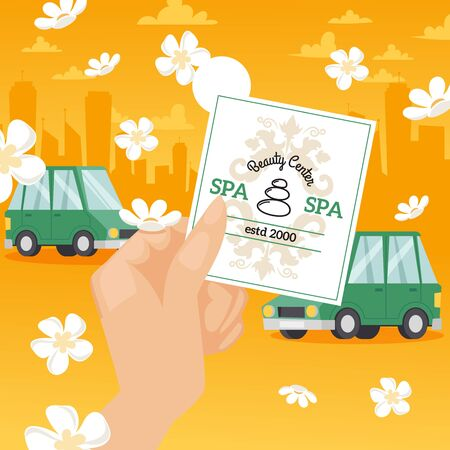 Spa center invitation, vector illustration. Hand holding advertisement flyer, appointment for beauty procedure. Spa salon business card, discount coupon. Cars on city street, spring flowers in the air