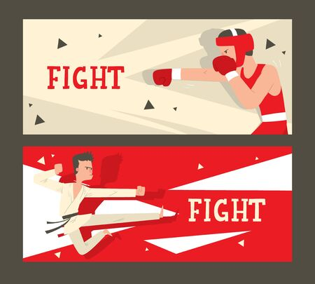 Martial arts fight club banner, vector illustration. Boxing and karate school, professional combat sport. Fighting man cartoon character, martial arts practice. Invitation to combat club competition