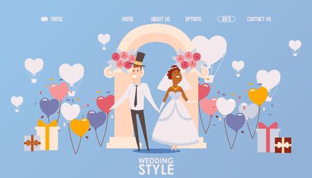 Wedding ceremony organization website, vector illustration. Landing page template, bride and groom smiling cartoon characters. Happy interracial marriage, wedding decorations, romantic newlywed couple