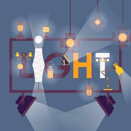 Lighting equipment poster, vector illustration. Light for interior design and professional studio, lamp, spotlight and lantern. Creative typographic concept store catalog cover, shop brochure template 일러스트