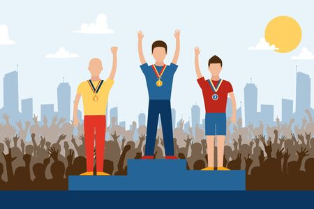 Competition winners on pedestal, vector illustration. Sport contest champions on stage with medals, win in front of cheering crowd of fans. Award winning sportsmen celebrating victory in city outdoor