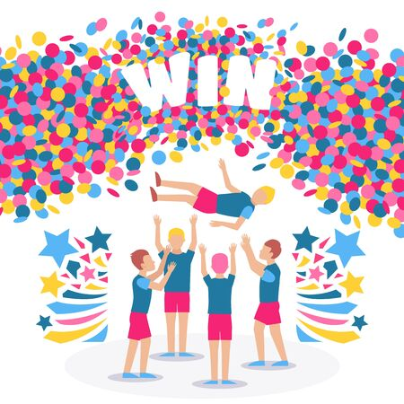 Competition winners celebrating victory, vector illustration. Sport contest champion team, flat cartoon style. Colorful confetti with place for text. Win marathon, be best in sport and achieve success Çizim