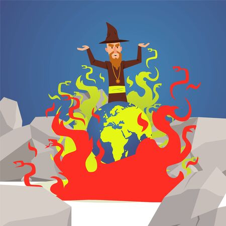 Evil wizard cast spell on Earth, planet burns in flames, vector illustration. Old sorcerer in hat, powerful witchcraft, evil magic spell. Sinister wizard put Earth on fire, doomed planet in flames Ilustração